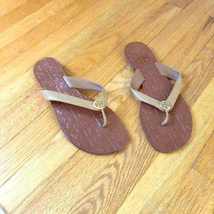 Leather Tory Burch flip flops